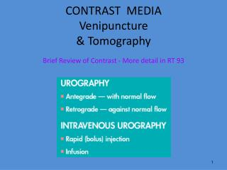 CONTRAST  MEDIA Venipuncture & Tomography
