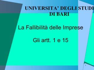 UNIVERSITA  DEGLI STUDI DI BARI