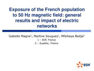 Isabelle Magne 1 , Martine Souques 1 , Mfoihaya Bedja 2 1 – EDF, France 2 – Supélec, France