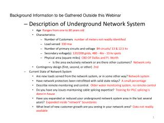 Background Information to be Gathered Outside this Webinar