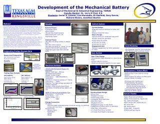 Development of the Mechanical Battery Dept of Mechanical & Industrial Engineering, TAMUK
