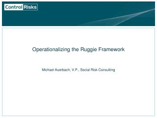 Operationalizing the Ruggie Framework