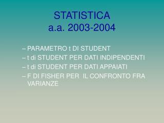STATISTICA a.a. 2003-2004