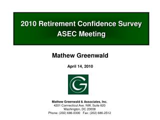 2010 Retirement Confidence Survey ASEC Meeting