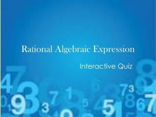 Rational Algebraic Expression