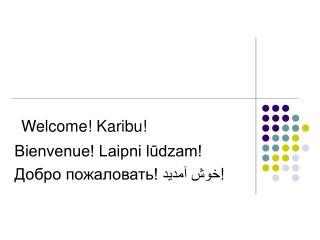 Welcome! Karibu! Bienvenue! Laipni lūdzam! Добро пожаловать!  خوش آمدید !