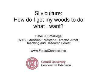Silviculture: How do I get my woods to do what I want?