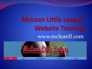 McLean Little League  Website Training