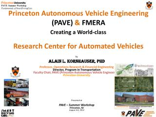Princeton Autonomous Vehicle Engineering  (PAVE)  &  FMERA