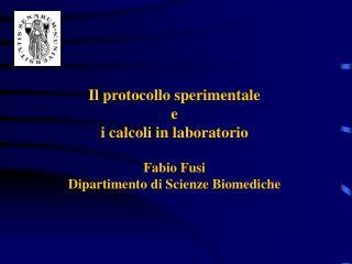 Il protocollo sperimentale e i calcoli in laboratorio Fabio Fusi