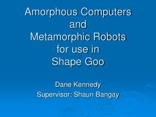 Amorphous Computers and Metamorphic Robots for use in Shape Goo