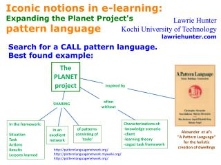 Iconic notions in e-learning: Expanding the Planet Project's  pattern language