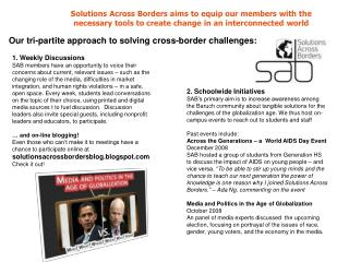 Solutions Across Borders aims to equip our members with the