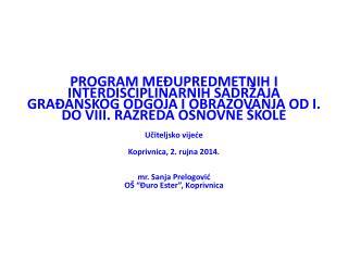 Koraci u izradi Izvedbenog školskog programa međupredmetnih i interdisciplinarnih sadržaja