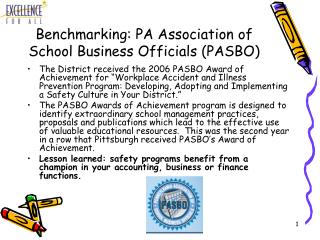 Benchmarking: PA Association of School Business Officials (PASBO)