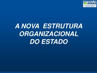 A NOVA  ESTRUTURA ORGANIZACIONAL DO ESTADO