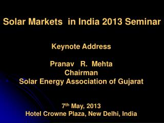 Solar Markets  in India 2013 Seminar