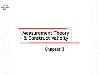 Measurement Theory & Construct Validity