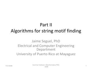 Part II Algorithms for string motif finding