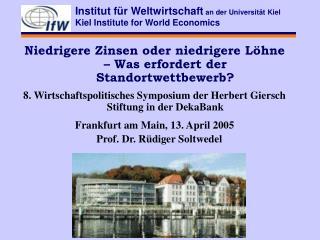 Institut für Weltwirtschaft  an der Universität Kiel Kiel Institute for World Economics