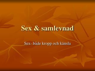 Sex & samlevnad