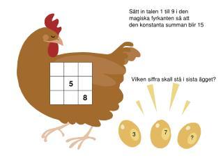 Sätt in talen 1 till 9 i den  magiska fyrkanten så att  den konstanta summan blir 15