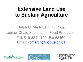 Extensive Land Use  to Sustain Agriculture