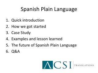 Spanish Plain Language