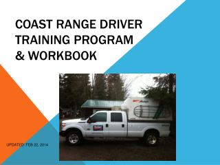 Coast Range DRIVER TRAINING PROGRAM  & WORKBOOK