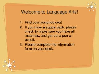 Welcome to Language Arts!