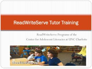 ReadWriteServe  Tutor Training