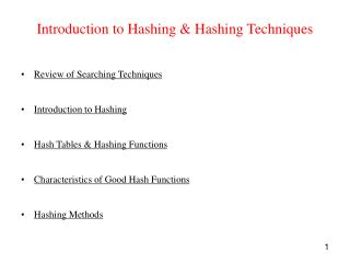 Introduction to Hashing & Hashing Techniques