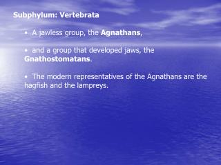 Subphylum: Vertebrata   A jawless group, the  Agnathans ,