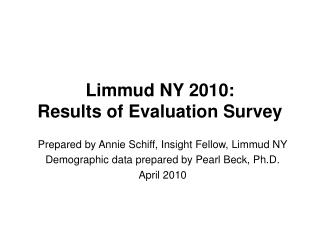 Limmud NY 2010:  Results of Evaluation Survey