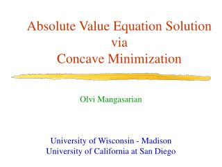 Absolute Value Equation Solution via Concave Minimization