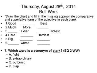 Thursday, August 28 th ,  2014 Bell-Work
