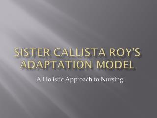 Sister  Callista  Roy's Adaptation Model