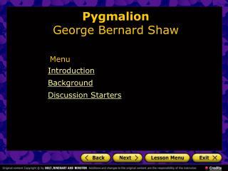 Pygmalion  George Bernard Shaw