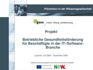 Projekt Betriebliche Gesundheitsförderung  für Beschäftigte in der IT-/Software-Branche