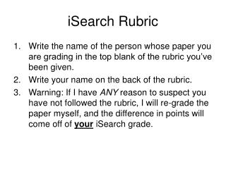 iSearch Rubric