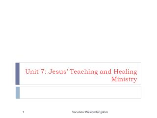 Unit 7: Jesus' Teaching and Healing Ministry