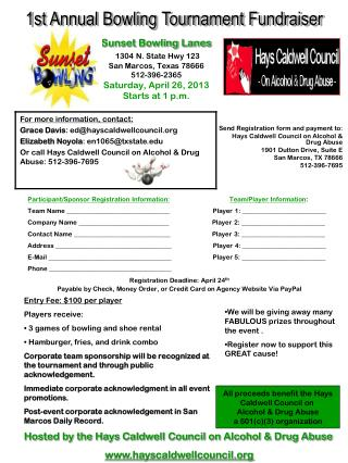 Send Registration form and payment to: Hays Caldwell Council on Alcohol & Drug Abuse