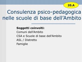 Consulenza psico-pedagogica nelle scuole di base dell�Ambito