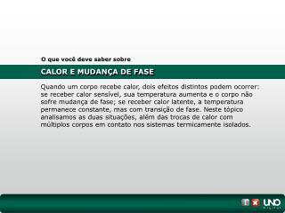 CALOR E MUDANÇA DE FASE