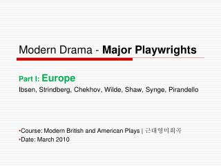 Modern Drama -  Major Playwrights