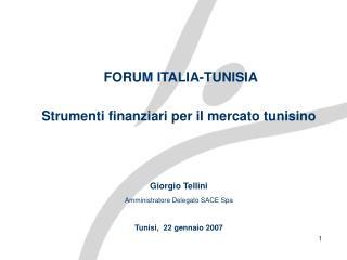 FORUM  ITALIA-TUNISIA Strumenti finanziari per il mercato tunisino Giorgio Tellini