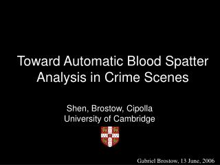 Toward Automatic Blood Spatter Analysis in Crime Scenes