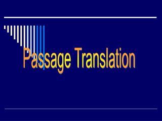 Passage Translation