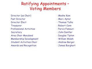 Ratifying Appointments –  Voting Members