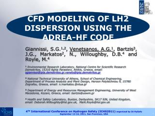 CFD MODELING OF LH2 DISPERSION USING THE ADREA-HF CODE